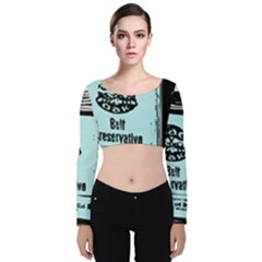 Liftarn Old Can Brown Velvet Long Sleeve Crop Top