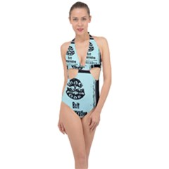 Liftarn Old Can Brown Halter Front Plunge Swimsuit