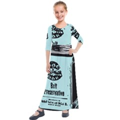 Liftarn Old Can Brown Kids  Quarter Sleeve Maxi Dress