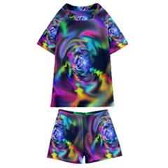 Soft Blend Color Wheel Kids  Swim Tee And Shorts Set
