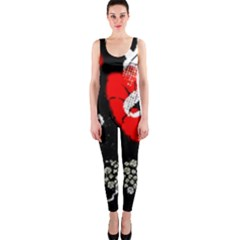 Red Poppy Flowers On Gray Background By Flipstylez Designs One Piece Catsuit