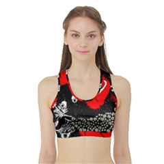 Red Poppy Flowers On Gray Background By Flipstylez Designs Sports Bra With Border