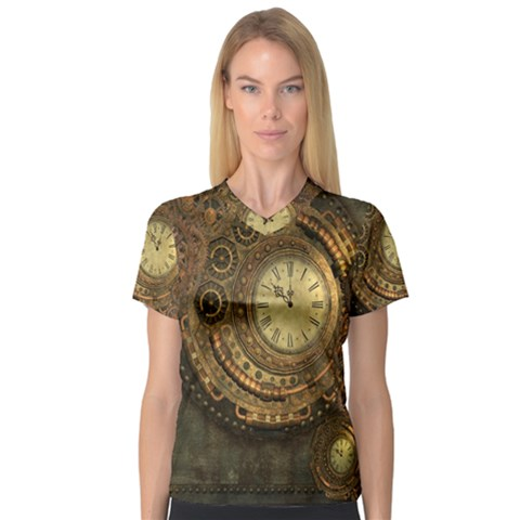 Awesome Steampunk Design, Clockwork V-neck Sport Mesh Tee by FantasyWorld7