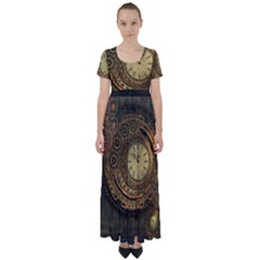 Awesome Steampunk Design, Clockwork High Waist Short Sleeve Maxi Dress by FantasyWorld7
