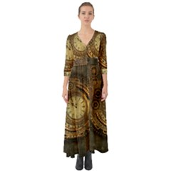 Awesome Steampunk Design, Clockwork Button Up Boho Maxi Dress by FantasyWorld7