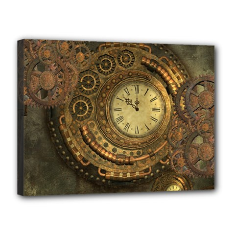 Awesome Steampunk Design, Clockwork Canvas 16  X 12  (stretched) by FantasyWorld7