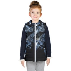 Smoke Flame Dynamic Wave Motion Kid s Hooded Puffer Vest