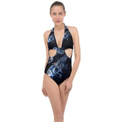 Smoke Flame Dynamic Wave Motion Halter Front Plunge Swimsuit