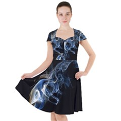 Smoke Flame Dynamic Wave Motion Cap Sleeve Midi Dress