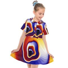 Fractal Art Paint Pattern Texture Kids  Short Sleeve Shirt Dress