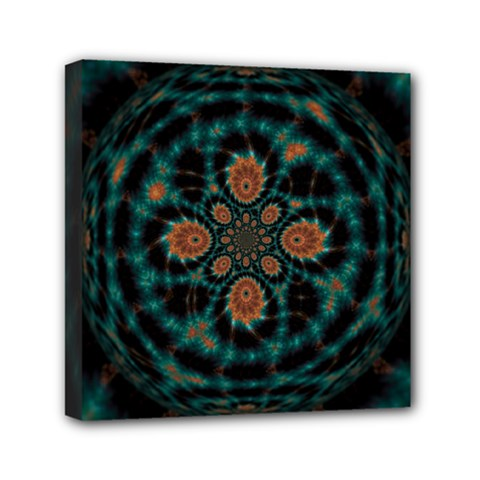 Abstract Digital Geometric Pattern Mini Canvas 6  X 6  (stretched)
