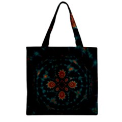 Abstract Digital Geometric Pattern Zipper Grocery Tote Bag