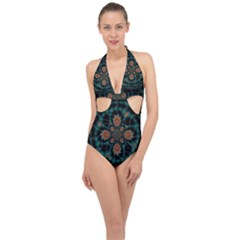 Abstract Digital Geometric Pattern Halter Front Plunge Swimsuit