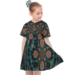 Abstract Digital Geometric Pattern Kids  Sailor Dress