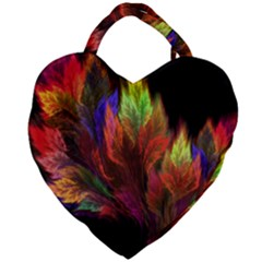 Abstract Digital Art Fractal Giant Heart Shaped Tote by Samandel