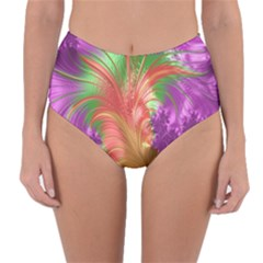 Fractal Purple Green Orange Yellow Reversible High Waist Bikini Bottoms