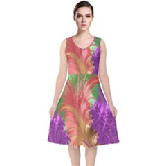 Fractal Purple Green Orange Yellow V Neck Midi Sleeveless Dress