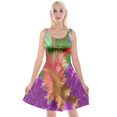 Fractal Purple Green Orange Yellow Reversible Velvet Sleeveless Dress