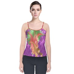 Fractal Purple Green Orange Yellow Velvet Spaghetti Strap Top