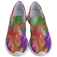 Fractal Purple Green Orange Yellow Women s Lightweight Slip Ons