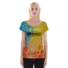 Bubbles Abstract Lights Yellow Cap Sleeve Top