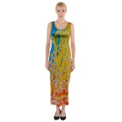 Bubbles Abstract Lights Yellow Fitted Maxi Dress