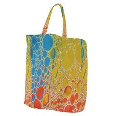 Bubbles Abstract Lights Yellow Giant Grocery Tote
