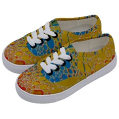 Bubbles Abstract Lights Yellow Kids  Classic Low Top Sneakers by Samandel