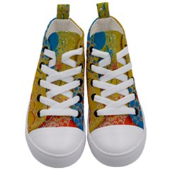 Bubbles Abstract Lights Yellow Kid s Mid Top Canvas Sneakers