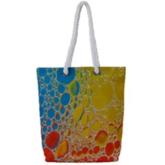 Bubbles Abstract Lights Yellow Full Print Rope Handle Tote (small)