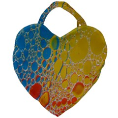 Bubbles Abstract Lights Yellow Giant Heart Shaped Tote by Samandel