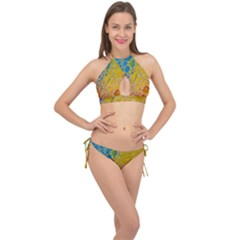 Bubbles Abstract Lights Yellow Cross Front Halter Bikini Set