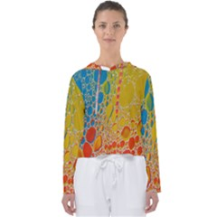 Bubbles Abstract Lights Yellow Women s Slouchy Sweat