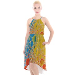 Bubbles Abstract Lights Yellow High Low Halter Chiffon Dress
