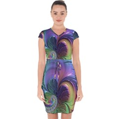 Fractal Artwork Art Swirl Vortex Capsleeve Drawstring Dress