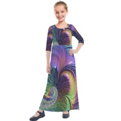Fractal Artwork Art Swirl Vortex Kids  Quarter Sleeve Maxi Dress