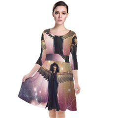 Awesome Dark Fairy In The Sky Quarter Sleeve Waist Band Dress