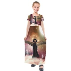 Awesome Dark Fairy In The Sky Kids  Short Sleeve Maxi Dress by FantasyWorld7