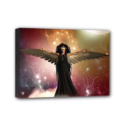 Awesome Dark Fairy In The Sky Mini Canvas 7  X 5  (stretched) by FantasyWorld7
