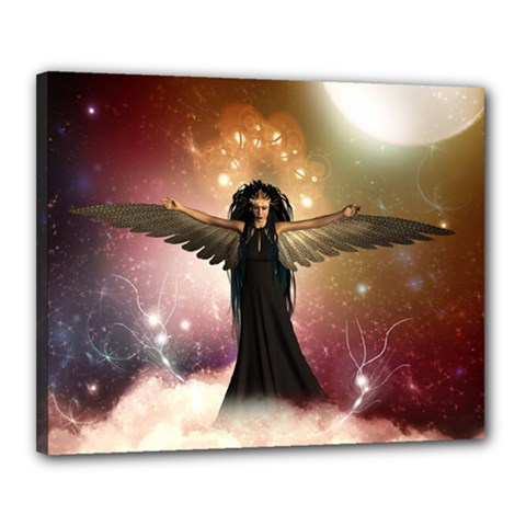 Awesome Dark Fairy In The Sky Canvas 20  X 16  (stretched) by FantasyWorld7