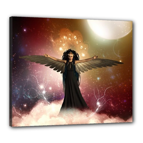 Awesome Dark Fairy In The Sky Canvas 24  X 20  (stretched) by FantasyWorld7