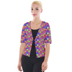 Numbers And Vowels Colorful Pattern Cropped Button Cardigan