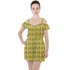 Pears Yellow Ruffle Cut Out Chiffon Playsuit