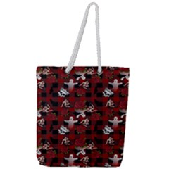 Gothic Woman Rose Bats Pattern Full Print Rope Handle Tote (large)