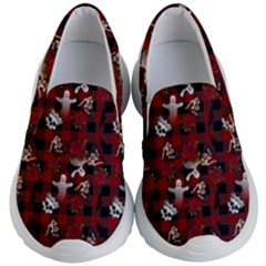 Gothic Woman Rose Bats Pattern Kid s Lightweight Slip Ons by snowwhitegirl