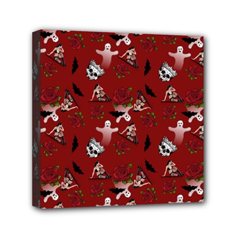 Gothic Woman Rose Bats Pattern Red Mini Canvas 6  X 6  (stretched)