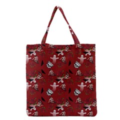 Gothic Woman Rose Bats Pattern Red Grocery Tote Bag by snowwhitegirl