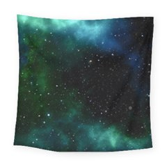 Galaxy Sky Blue Green Square Tapestry (large) by snowwhitegirl