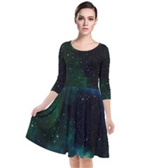 Galaxy Sky Blue Green Quarter Sleeve Waist Band Dress by snowwhitegirl