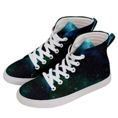 Galaxy Sky Blue Green Women s Hi Top Skate Sneakers by snowwhitegirl